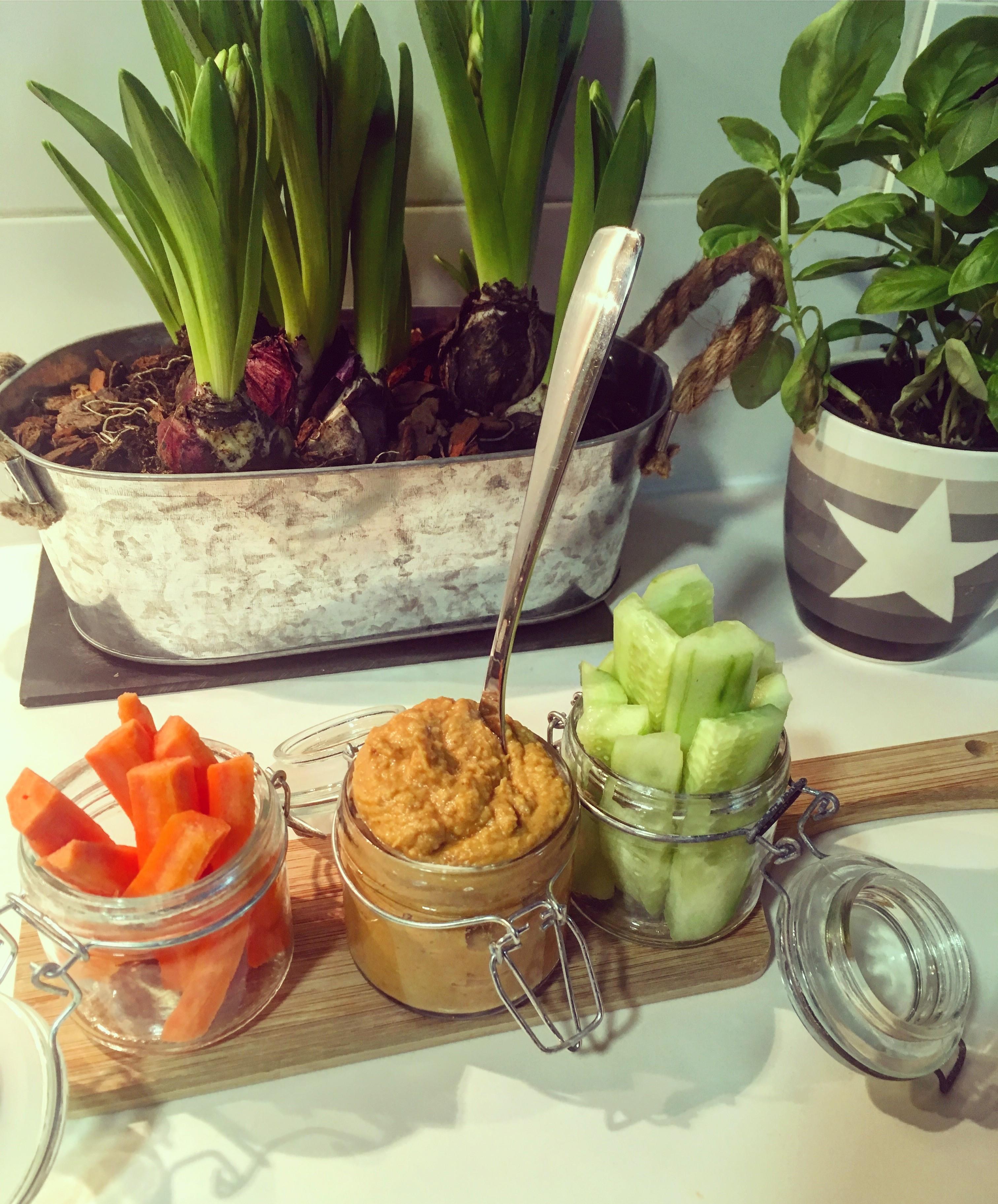 Hummus de crudités de zanahoria y pepino